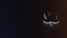 3d Rendering Of White Light Stripe Symbol Of Cannabis On Dark Background
