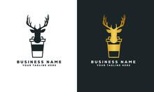 Deer Coffee Paper Cup Minimal Logo Vector
