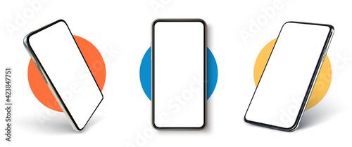 Obraz na plátne Realistic UI, UX phone mockup