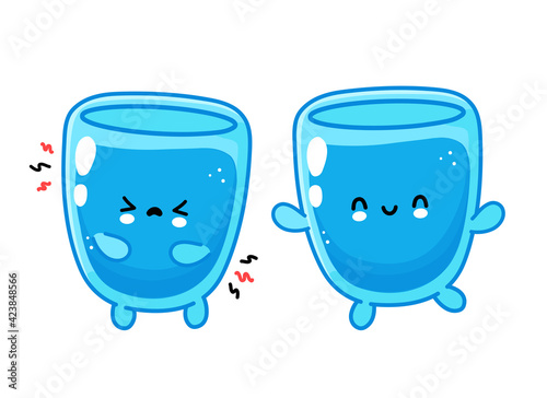 Fototapeta Cute funny happy and sad water glass character. Vector flat line cartoon kawaii character illustration icon. Isolated on white background. Water glass character concept obraz na płótnie