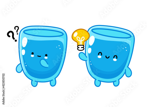 Fototapeta Cute funny happy water glass character with question mark and idea lightbulb. Vector flat line cartoon kawaii character illustration icon. Isolated on white background. Water glass character concept obraz na płótnie