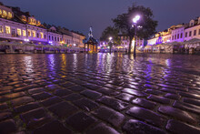 Poland, Subcarpathia, Rzeszow, Main Square In Old Town At Dawn