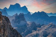 Italy, Veneto, Cortina D'Ampezzo, Dolomites, Rocky Mountains Ridges At Sunset