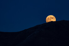 USA, Idaho, Bellevue, Full Moon Rising Over Hills