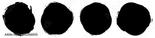 Fototapeta Grungy, grunge texture circle, oval abstract element. Ink spot, stain, inkblot shape. Mottle, speckle textured element obraz