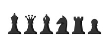 Chess Pieces Vector Set. King, Queen, Bishop, Knight, Rook, Pawn.