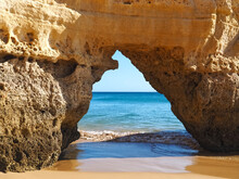 Gate In The Cliffs To The Beach Praia Da Rocha In Portimao In Portugal