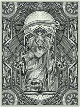 Illustration King Satan With Engraving Style