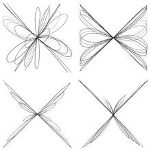 Abstract Geometric Lineart, Lines Design Element. Outline Knot-like Mandala, Motiff Design