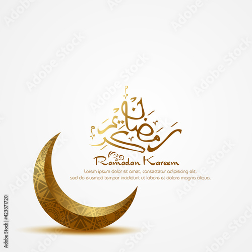 Fototapeta Ramadan kareem. Islamic background design with arabic calligraphy and crescent.  - Translation of arabic calligraphy : Ramadan obraz