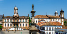 OURO PRETO , BRAZIL , Tiradentes Square In Outo Preto During Pandemic Lockdown In Brazil.