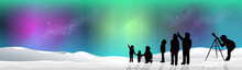BANNER Aurora Northern Lights With Snow At Night Silhouette People Looking At Stars
