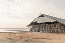 Salt Barn For Stocking Sea Salt In Sea Farm Thailand.