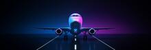 Airline Travel On Black Background. 3d Rendering