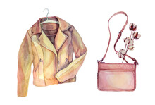 Watercolor Beige Leather Jacket With Hanger, Pink Bag, Plant Cotton Branch Isolated On White Background. Hand-drawn Object Casual Clothes For Sticker, Card, Shop, Wallpaper, Sale, Sketchbook