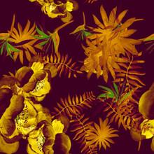 Violet Tropical Painting. Golden Seamless Illustration. Autumn Pattern Textile. Beige Drawing Nature. Purple Floral Nature. Yellow Decoration Nature. Floral Leaf.