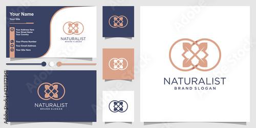 Fotografie, Obraz naturalist flower logo with line art style and business card design Premium Vect