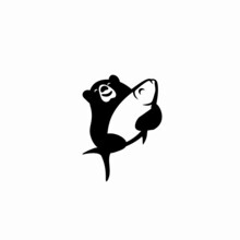 Bear Carrying A Big Fish Logo, Represents A Winning Time, Good Food,  Joyness, Simple But Memorable Logo For Restaurant And Fishing Business.