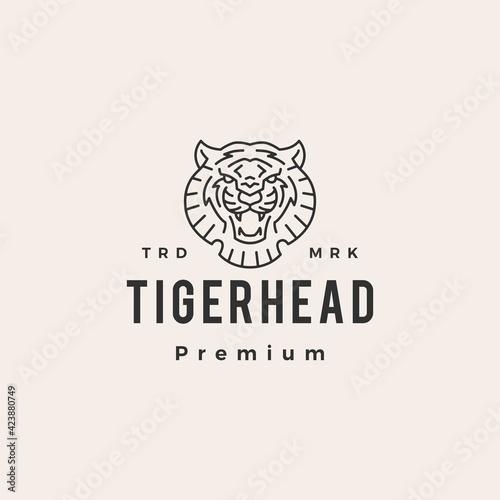Fotografia tiger head outline hipster vintage logo vector icon illustration