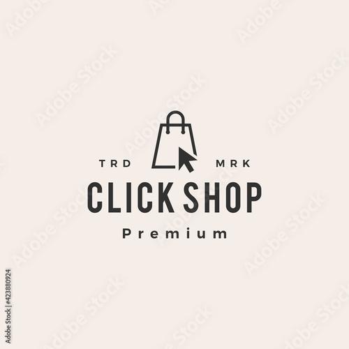 Fototapeta click shop shopping bag hipster vintage logo vector icon illustration obraz