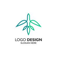 Plane And Leaf Logo Design Template
