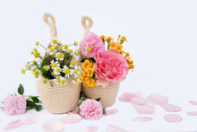 Beautiful Color Of Flower In Crochet Hanging Planter Isolated On White Background.