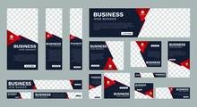 Set Of Business Web Banners Of Standard Size With A Place For Photos. Vertical, Horizontal And Square Template. Vector Illustration EPS 10