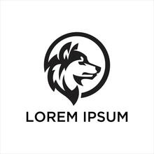 Fully Editable Vector Illustration Of A Wolf Logo.