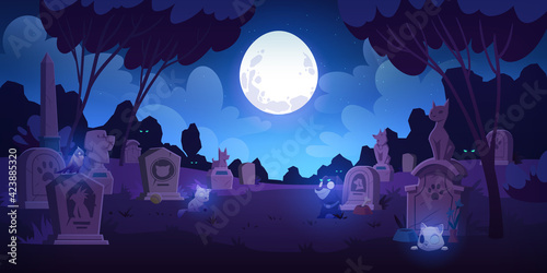 Fotografie, Obraz Pet cemetery at night, animal graveyard with tombstones, grave tombs with cats,