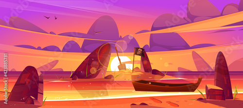 Fotografie, Obraz Sunset landscape of sea beach, boat and island in water with pirate flag and shovel
