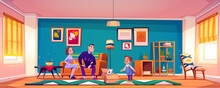 Parents Present Cat To Little Girl. Child Getting Cute Pet For Birthday. Vector Cartoon Illustration Of House Living Room With Mother And Father Sitting On Couch, Kid And Kitty In Cardboard Box