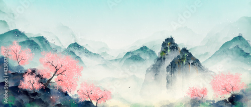 Fototapeta Mountain forest with peach blossoms in spring and summer. Oriental ink landscape painting. obraz