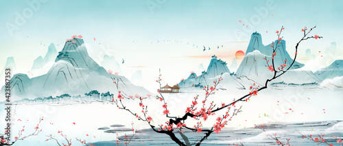 Fototapeta There are peach blossom trees in the mountains and forests in spring and summer. Oriental traditional ink landscape painting obraz