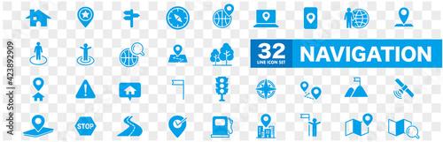 Fototapeta Navigation, location, GPS elements - thin line web icon set. Outline icons collection. Simple vector illustration. obraz