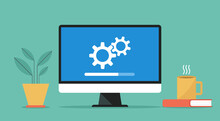 Computer With Software System Update And Development Concept, Vector Flat Design Illustration