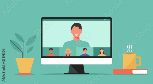 video conference with people connecting together, learning and meeting online via teleconference or remote working on computer, work from home and anywhere, vector flat design illustration