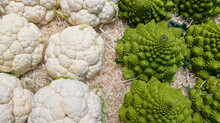 Cauliflower Cabbage White And Green Variety Stack Background