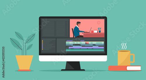 Obraz na plátně Video editing software on computer concept