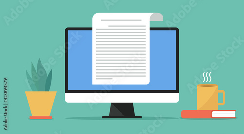Fototapeta online electronic document concept, paper sheet or journal on computer, vector flat design illustration obraz