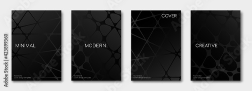 Fototapeta Set of cover black and white cards. Minimal geometric pattern with lines surface texture for banner, posters, and wallpaper. Vector Template obraz