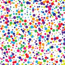 Abstract Random Art. Rainbow Party Polka Vector Background. All Color Dot.