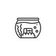 Aquarium with treasure chest line icon