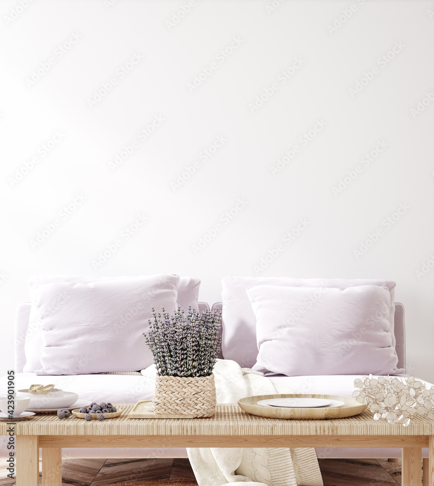 Fototapeta Home mock up with purple sofa and flowers, fresh spring living room interior, 3d render