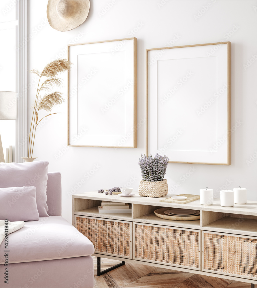 Fototapeta Frame mockup in fresh spring living room interior background, 3d render