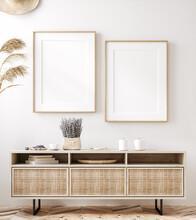 Frame Mockup In Fresh Spring Living Room Interior Background, 3d Render