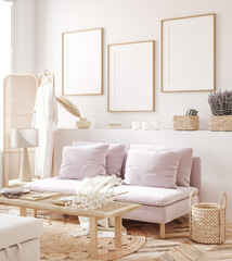 Frame mockup in fresh spring living room interior background, 3d render