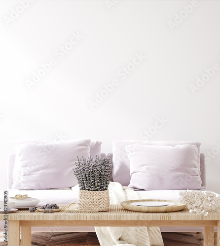 canvas print motiv - artjafara : Home mock up with purple sofa and flowers, fresh spring living room interior, 3d render