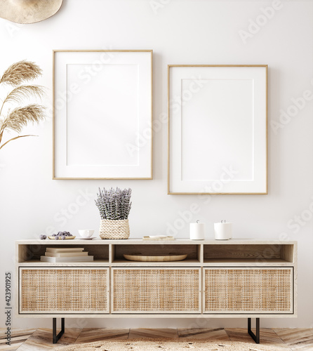 canvas print motiv - artjafara : Frame mockup in fresh spring living room interior background, 3d render
