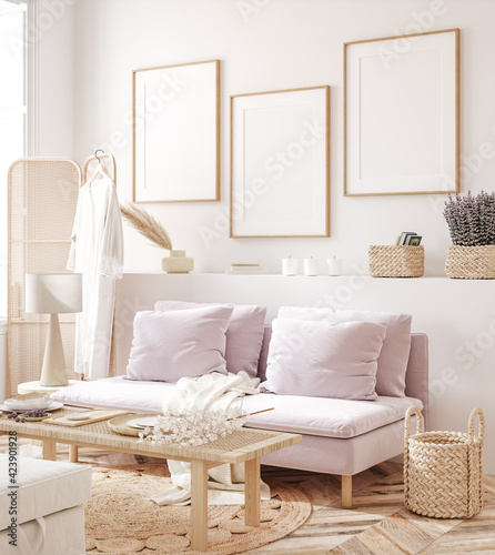 Fototapeta Frame mockup in fresh spring living room interior background, 3d render obraz
