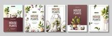 Set Of Flyers For Houseplants Store, Greenhouse, Florarium, Home Garden, Gardening, Plant Lover. Vector Illustration For Poster, Banner, Flyer, Advertising, Commercial, Promo.